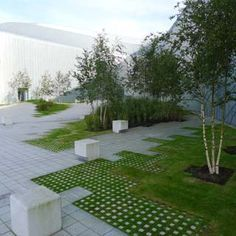 like the idea of bigger pavers transitioning into smallerones in the grass Projects: G R O S S . M A X .