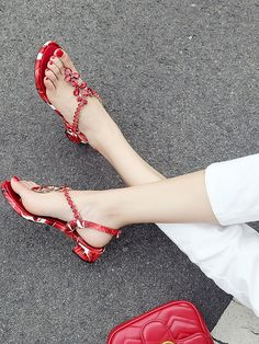Only 3 Days Left Women's Red Gem Embellished V-shaped Ankle Strap Leather Sandals #elegantshoegirl #shoes #ankle  #boots #flats #fashions #womens