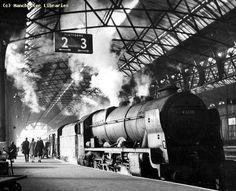 BR 46110 Grenadier Guardsman at Manchester Central 1963 Diesel Locomotive, Steam Locomotive, Steam Trains Uk, Manchester Central, Steam Railway, Train Times, Train Art, British Rail, Train Engines