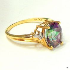sz 7 Mystic Topaz Solid 10k Gold Vintage Ring by JanesGemCreations