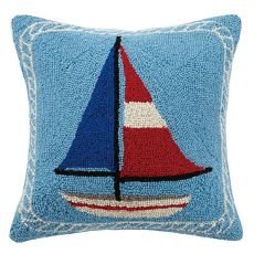 Drift to sleep with a collection of Nautical Hook Pillows. This designer collection of beach house pillows has themed collections that look fabulous together! Shop the largest collection of coastal decorative pillows. Seaside Home Decor, Beach Cottage Decor, Lake Decor, Wool Pillows, Decorative Throw Pillows, Sailboat Decor, Nautical Pillows, Rug Hooking, Sailboats