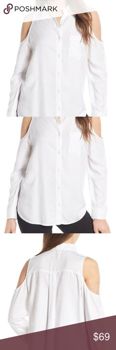 be35a9056bac62 BP WOMEN Button Down Cold Shoulder Collar Blouse Brand:BP. Condition:New  with