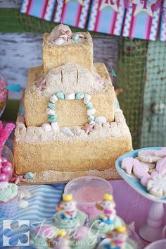 Gorgeous Mermaid Party! Love the 'sand' cake. Found via www.karaspartyide...