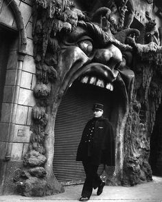 Cabaret de l'Enfer.  Montmarte, Paris.  (1952 photo)  Policeman at the Mouth of Hell.  (link to humorous review of the 1899 book 'Bohemian Paris of To-day' by Wm. Chambers Morrow & Edovard Cucuel)