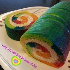 Rainbow Tie-Dye Swiss Roll with Strawberry Buttercream