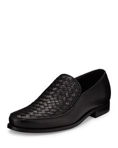 Bottega Veneta calfskin leather loafer with signature intrecciato upper. Almond toe. Leather lining and insole. Stacked flat heel. Rubber outsole. Made in Italy.