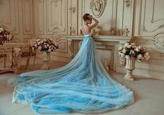 Bohemian Wedding Dress / Two Piece Wedding Dress / Corset Sky | Etsy Two Piece Wedding Dress, Wedding Skirt, One Piece Dress, Tulle Wedding, Unusual Wedding Dresses, Bohemian Wedding Dresses, Colored Wedding Dresses, Blue Dresses, Himmelblau