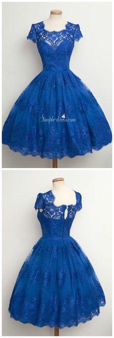 vintage 1950s dress, prom dress, homecoming dress, royal blue short lace dress
