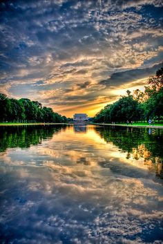Sunset Lincoln Memorial by Kay Gaensler, via Flickr.  Looking forward to when the reflecting pond is finished and filled.