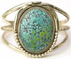 Sterling Silver Blue Green Turquoise Cuff Bracelet