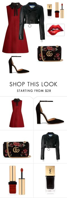 """Heart of glass"" by kamiren ❤ liked on Polyvore featuring RED Valentino, Gianvito Rossi, Gucci, Off-White and Yves Saint Laurent"