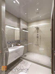 Фото: Интерьер душевой комнаты - Интерьер квартиры в современном стиле, ЖК «Солнечный»