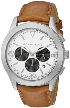 Michael Kors Men's Gareth Brown Watch MK8470. Round watch with cream dial featuring open lugs, trio of contrasting subdials, and fluted crown. 43 mm stainless steel case with mineral dial window. Japanese quartz movement with analog display. Brown leather band with deployant buckle. Water resistant to 50 m (165 ft): In general, suitable for short periods of recreational swimming, but not diving or snorkeling.