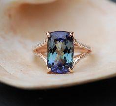 Downpayment - Tanzanite Ring. Rose Gold Engagement Ring Lavender Mint Tanzanite emarald cut halo engagement ring 14k rose gold.