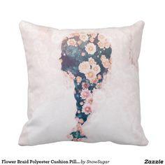 "Flower Braid Polyester Cushion Pillow 16"" x 16"""