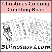 Free Christmas Coloring Counting Book has from 0 to 10 in it - 3Dinosaurs