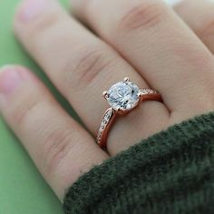 1.00 CT. 14k Rose Gold Over Brilliant Round Cut Diamond Engagement Wedding Ring #giftjewelry22 #SolitaireWithAccents