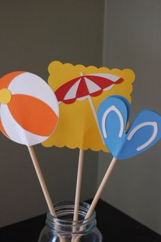 Pool Party Centerpieces 8 Pcs Pool Party Birthday by GiggleBees, $16.00