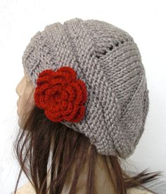 Hand Knit  Womens Hat   chunky Thick  knit  Tam  beret in by Ebruk