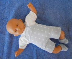 Ensemble salopette bleue à pois blancs pour poupon de 30 cm - MCL Poupées, vêtements pour les poupées et les poupons