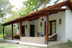 Spanish-style home, covered porch Village House Design, Village Houses, Spanish Style Homes, Spanish House, Spanish Bungalow, Adobe Haus, Mexico House, Small House Plans, Simple House