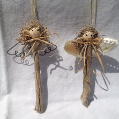Driftwood Angel Ornaments by LeVinetLaMer on Etsy