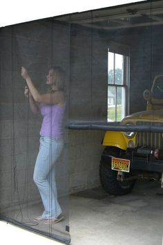 durable black fiberglass screen has a magnetic opening use for garages porches awnings etc for larger openings use 2 screens can be installed