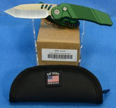 Rat Worx MRX Full Sized Chain Drive Knife Green Lanyard Cut Handle Tanto Blade Ground Satin