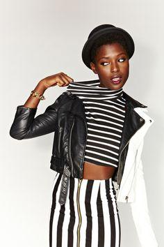 Jailbait Crop Turtleneck, Whiteout Moto Jacket, Moto Zip Crop Jacket, Parallel Lines Skirt - bowler hat coming soon!