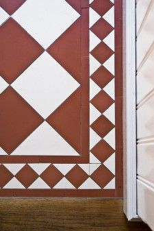 Victorian floor tiles Hall Tiles, White Wood Floors, Fireclay Tile, Border Tiles, Tile Manufacturers, Stenciled Floor, Black And White Tiles, Kitchen Wall Tiles, House Tiles