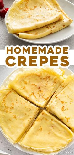 Learn how to make homemade crepes without any special equipment needed! This easy recipe makes delicate, buttery, and wonderful crepes, perfect for breakfast, brunch, or dessert. Either savory or sweet - the possibilities for filling them are practically endless! Brunch Drinks, Brunch Buffet, Breakfast Buffet, Breakfast Recipes, Dessert Recipes, Dessert Buffet, White Wedding Cakes, Wedding Cakes With Flowers, Elegant Wedding Cakes