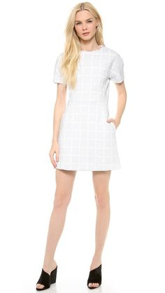 T by Alexander Wang Grid Gel Print Neoprene Shortsleeve Dress $481.07
