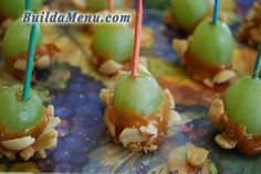 Caramel Apple Grapes - Step-by-Step instructions for Cooking With Kids project at www.BuildaMenu.com #cookingwithkids
