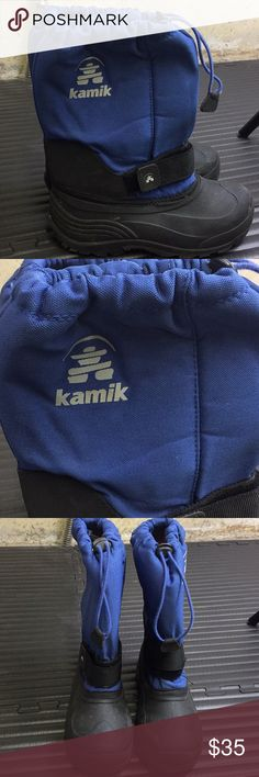 Big Boys Blue Kamik Insulated Snow Boots Size 4M Big Boys Blue Kamik Insulated Snow Boots Size 4M. Removable liner. Waterproof. Excellent Condition Kamik Shoes Rain & Snow Boots