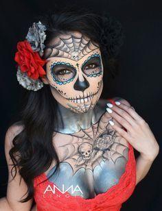 Anna Lingis's Face & Body Art - Skulls Plus Candy Skull Makeup, Candy Skulls, Halloween Looks, Halloween Face Makeup, Halloween 2019, Halloween Stuff, Halloween Costumes, Sugar Skull Girl, Sugar Skulls