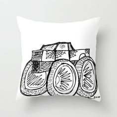 Monster Truck Throw Pillow by Addison Karl - $20.00