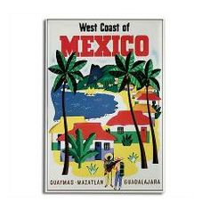 Mexico Travel Rectangle Magnet> WEST COAST MEXICO VINTAGE ART GIFTS> Evolve Shop