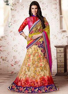 Multicolored Net A Line Lehenga Choli