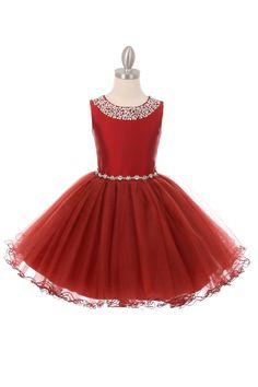 7166a7ca43fa Red sleeveless short party dress, decorated with sequin around neck with  rhinestone belt. # · Little Girl Christmas DressesGirls ...