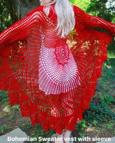 Bohemian Sweater crochet sweater vest with sleeves handmade Bohemian Style, Boho, Flower Video, Knitting Accessories, Handmade Clothes, Crochet Patterns, Crochet 101, Crochet Clothes, Crochet Flowers