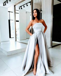 Sexy Slit A Line Prom Dresses 2019 Satin Evening Dress Silver Long Formal  Dress 540c7a62a861