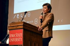 Lt. Gov. Kim Reynolds speaks to 350 high school girls at ISU on Thursday as part of a conference to encourage young women to study in STEM-related fields. Photo by Austin Harrington/Ames Tribune http://www.amestrib.com/news/20161027/lt-gov-reynolds-encourages-women-to-seek-stem-related-jobs