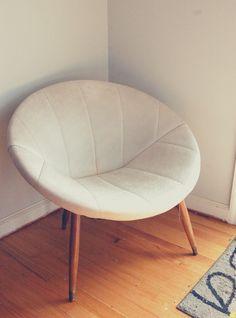 Round Mid Century Mod White Chair. $50.00, Via Etsy.