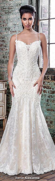 justin alexander signature spring 2016 beautiful mermaid wedding dress fit flare trumpet spagetti strap sweetheart neckline beaded