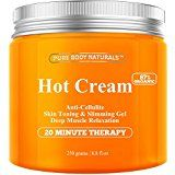Pure Body Naturals Hot Cream for Cellulite Reduction Skin Toning and Slimming Deep Muscle Relaxation 8.8 Ounce
