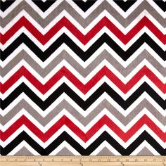 Shannon Minky Cuddle Zig Zag Red/Black/Snow from @fabricdotcom  This Minky Cuddle Chevron fabric has an extremely soft 3mm pile that's perfect for baby accessories, blankets, throws, pillows and stuffed animals. Colors include red, black, snow white and charcoal.