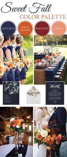 fall wedding inspiration   wedding palette   navy, orange, burgundy, peach  