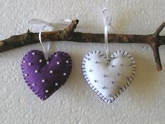 Felt Ornament Purple Hearts Handing home decor felt heart Valentine Heart, Valentines Day, Felt Ornaments, Christmas Ornaments, Purple Hearts, Felt Hearts, Hand Sewing, Diy Projects, Holiday Decor