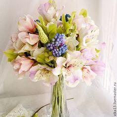 """Купить Букет """"Нежные альстромерии"""" - бледно-розовый, розовый цвет, магнолия, цветы ручной работы"""