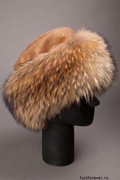 """Меховая шапка боярка, мех енот, кожа - Меховая фавсегда"""" Winter Hats"""